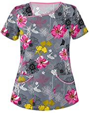 BJJH Outdoor Dames verzorging beroepskleding bloemenprint V-hals basic sliphemd korte mouwen slip-tas grote maten twee zakken kasack verzorgingstop verpleegkundige uniformen