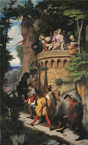 ポリエステルキャンバス、鮮やかなアートの装飾プリントキャンバスの油絵` Moritz Von schwind-theローズ、またはThe Artist `s Journey、19世紀`、24x 40インチ/ 61x 101cm is best forキッチン装飾、ホームとギフトの商品画像