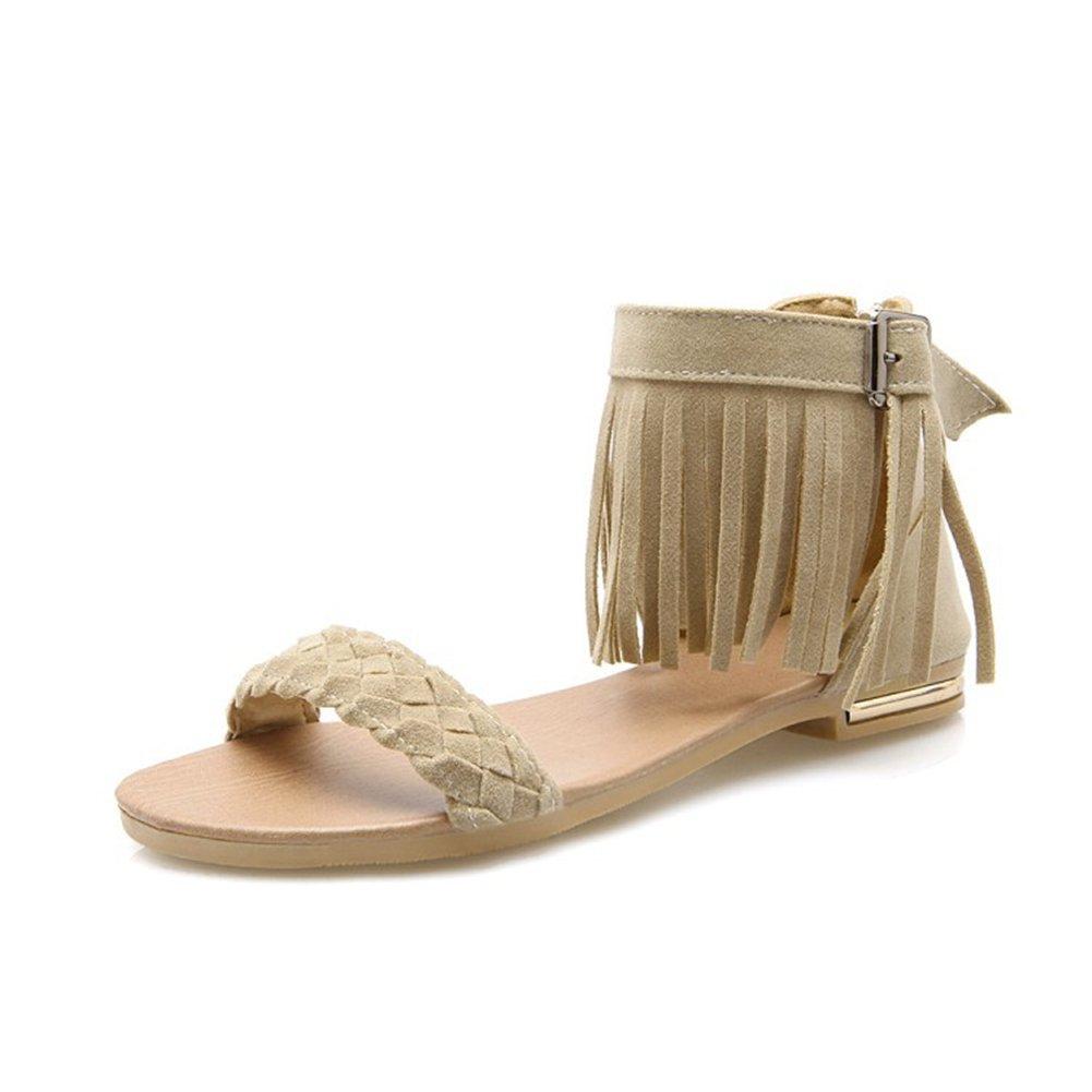 Damenschuhe PU (Polyurethan) Sommer Komfort Sliuch Stiefel Tassel Sandalen Wanderschuhe Flache Ferse Offene Spitze Geflochtene Strap