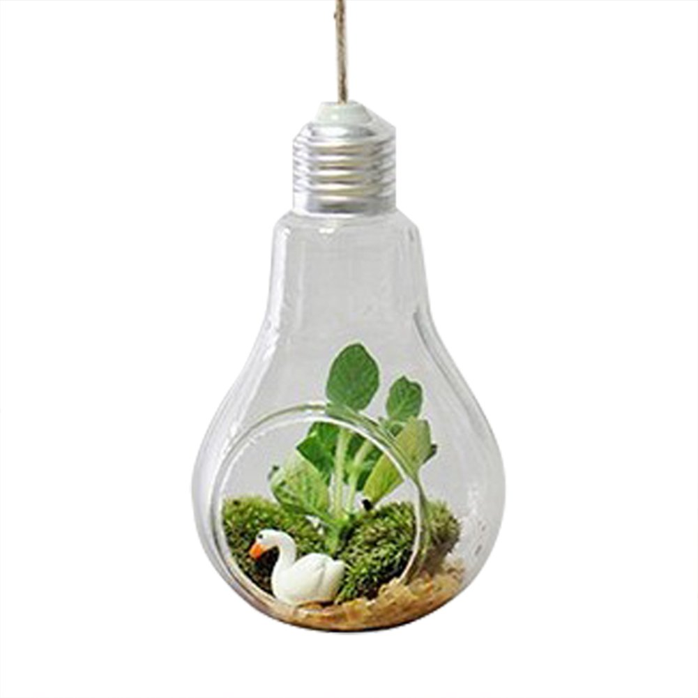 Qingsun Light Bulb Shape Glass Vase Hanging Clear Flower Vase Hydroponic Container Home Decor Jute Rope (One-Hole)