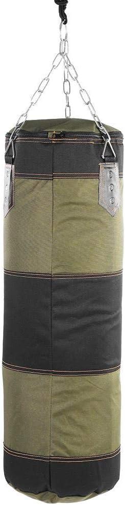 80cm Verdes Desconocido Saco de Boxeo de Entrenamiento desarrollar t/écnicas de Manos y pies Saco de Lona con Saco de Arena//Cadena de Metal//Gancho//mosquet/ón