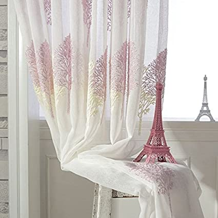 Buy Generic Double Color Tree Embroidered Tulle Curtains Sheer ...