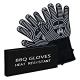 EN407 Certified,BBQ Grill Gloves,932°F Extreme Heat Resistant Non Slip Kitchen Oven Mitts,Top Class Barbecue Gloves,For Cooking, Grilling, Baking,2 Gloves Included.