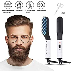 Beard Straightener Brush for Men, MQ Beard Straightening Comb Multifunctional Hair Styler Anti-Scald Faster Heated Electric Ionic Ceramic Auto Temperature Lock Universal Portable for Home Travel