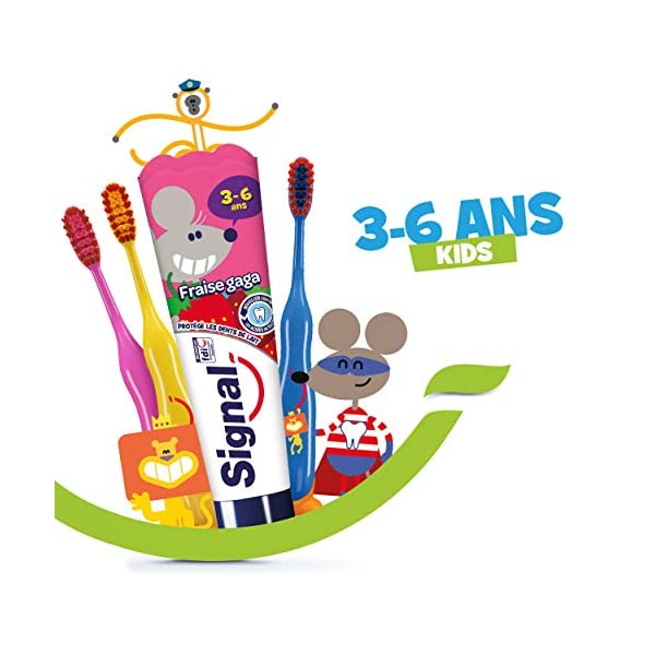 Signal Kit Dentaire pour Enfants 4 Dentifrices Enfants 3-6 ans Fraise Gaga et 3 Brosses à Dents Enfants Manuelles Extra…
