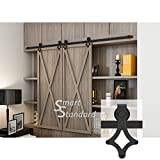 7ft Double Door Cabinet Barn Door Hardware Kit- Mini Sliding Door Hardware-for Cabinet TV Stand-Simple and Easy to Install-Fit 21'' Wide Door Panel (Cabinet NOT Included) (Mini Rhombic Shape Hangers)