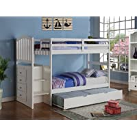 Arch Mission Stairway Bunk Bed with Trundle in White