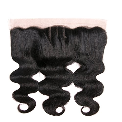 DRESSMAKER 8A Grade Lace Frontal Closure 13x4 Three Part Body Wave Brazilian Human Hair Lace Frontal With Baby Hair Natural Color (13 X 4 Closure,12 inch)
