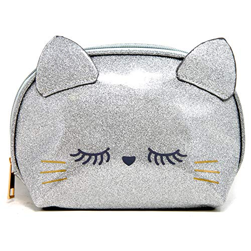 by you Portable Makeup Case Cosmetic Bag Pouch Travel Organizer Purse With Zipper Kitty – Silver