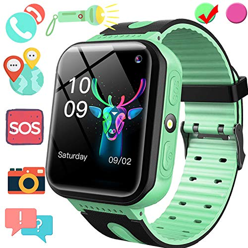 Kids Smart Watch GPS Tracker, Phone Smart Watch for Boys Girls, 1.5'' Touchscreen GPS Game Smartwatch with SIM Slot Anti Lost SOS Voice Chat Camera Flashlight Wearable Phone Wrist Watch Birthday Gift (Watch You)