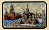 Russian Lacquer Box (#3365) MOSCOW-RED SQUARE on mother of pearl
