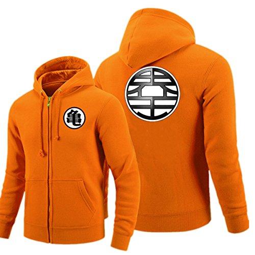 Pulle-A Anime Cosplay Dragon Ball Z Super Saiyan Goku Turtle Master Roshi Costume Zip Hoodie Long Sleeve Jacket Orange -