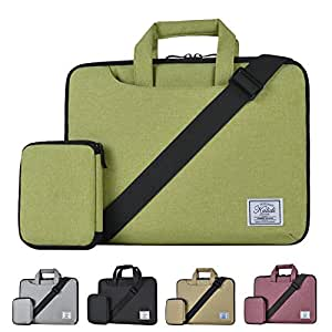 KALIDI 12-14 Inch Water-Resistant Padded Laptop Sleeve Shoulder Bag for MacBook Air/Pro Surface Pro 3/Pro 4, Green