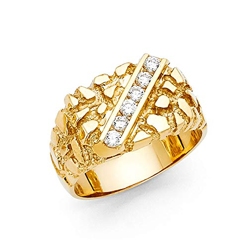Wellingsale Men's Solid 14k Yellow Gold CZ Cubic Zirconia Heavy Nugget Ring - Size 13