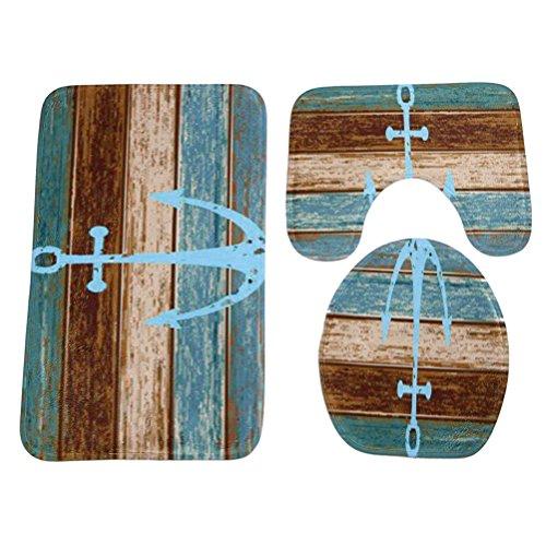 (OUNONA 3 Piece Bathroom Rug Set Nautical Anchor Pedestal Mat Non Slip Bath Mat Toilet Lid Cover Toilet Rug Set)