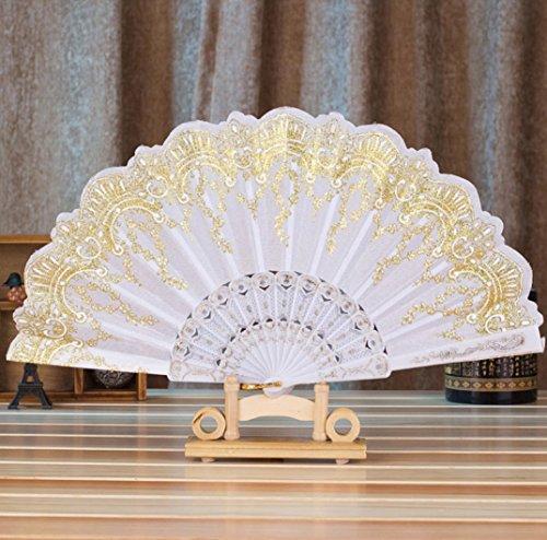(Transer Chinese Style Dance Wedding Party Lace Silk Folding Hand Held Flower Folding Fan (White))