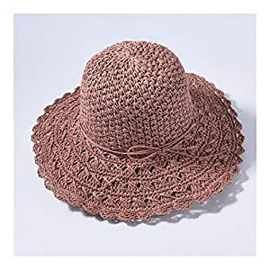SHENTIANWEI Straw Big Straw hat Visor Female Sunscreen Holiday Travel Beach hat Sun hat (Color : Leather Powder)
