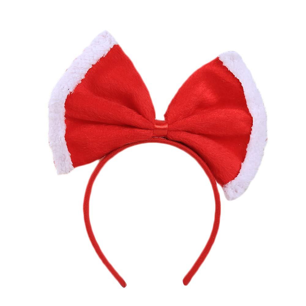 Christmas Bow Headband Xmas Birthday Party Decor Double Hair Band Clasp Head Hoop Girls (B)