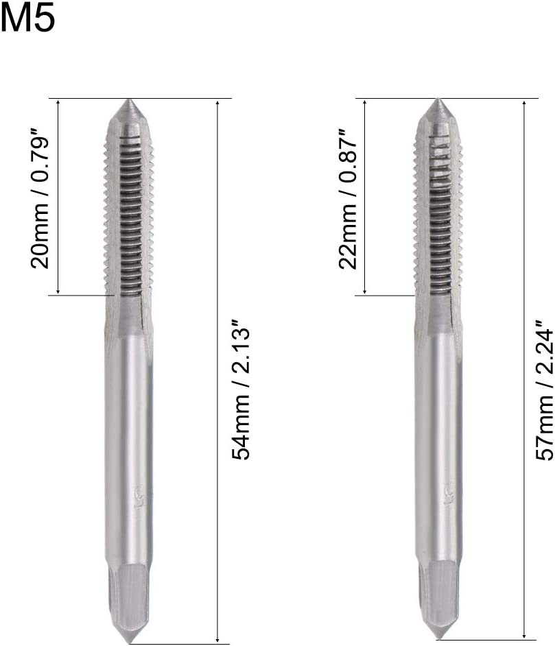 uxcell Metric Hand Tap M5 Thread 0.8 Pitch 3 Straight Flutes High Speed Steel 1 Pair