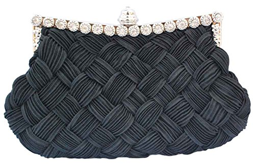 - Chicastic Pleated and Braided Rhinestone studded Wedding Evening Bridal Bridesmaid Clutch Purse - Black