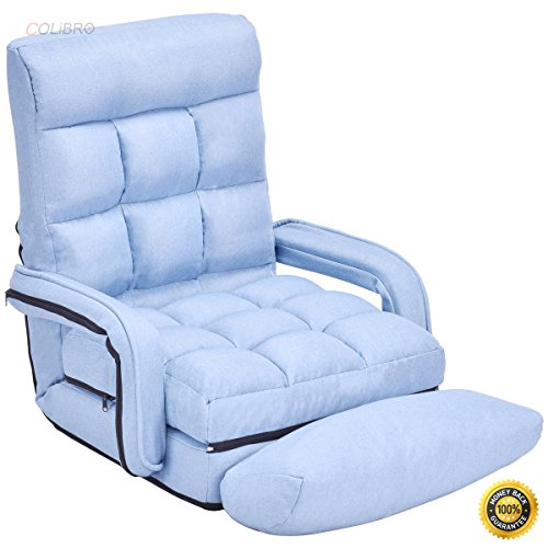 COLIBROX--Blue Folding Lazy Sofa Floor Chair Sofa Lounger Bed with Armrests and Pillow,floor chair with back support,best floor chair, Folding Lazy Sofa,Sofa for sale,portable floor chair