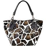 FASH! Giraffe Print Faux Leather Tote Shoulder Handbag,Brown,One Size