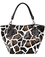 FASH! Giraffe Print Faux Leather Tote Shoulder Handbag,Brown,One Size