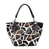 FASH Limited Giraffe Print Faux Leather Tote Shoulder Handbag,Brown,One Size (Apparel)