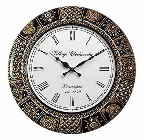 RoyalsCart Floral Design Painting Analog Wall Clock – 18 x 18 Inch,Multicolor (KTWC281)