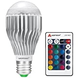 Warmoon E26 LED Light Bulb, 10W RGB Color Changing Dimmable LED Light Bulbs with Remote Control [Fits E26 and E27]