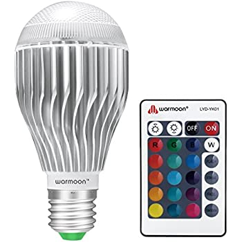 warmoon e26 led light bulb 10w rgb color changing dimmable led light bulbs with remote control. Black Bedroom Furniture Sets. Home Design Ideas