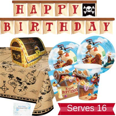 Pirate Party Supplies and Decorations - Pirate Party Plates and Napkins Cups for 16 People - Includes Pirate Birthday Banner, Tablecloth and Centerpiece - Perfect Pirate Birthday Party Decorations!