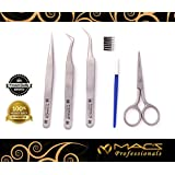 Macs Professional Eye Lash Extension Delux Eye Brow Tweezers,Scissor & Brush Kit -851