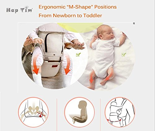 Ergonomic Baby Carrier with Hip Seat for Girls/Kids,Baby Backpack Carrier Toddler 6 Comfortable & Safe Positions, 48'' Maximum Adjustable Waistband, Perfect for Alone Nursing and Hiking (Grey)) by Hap Tim (Image #6)
