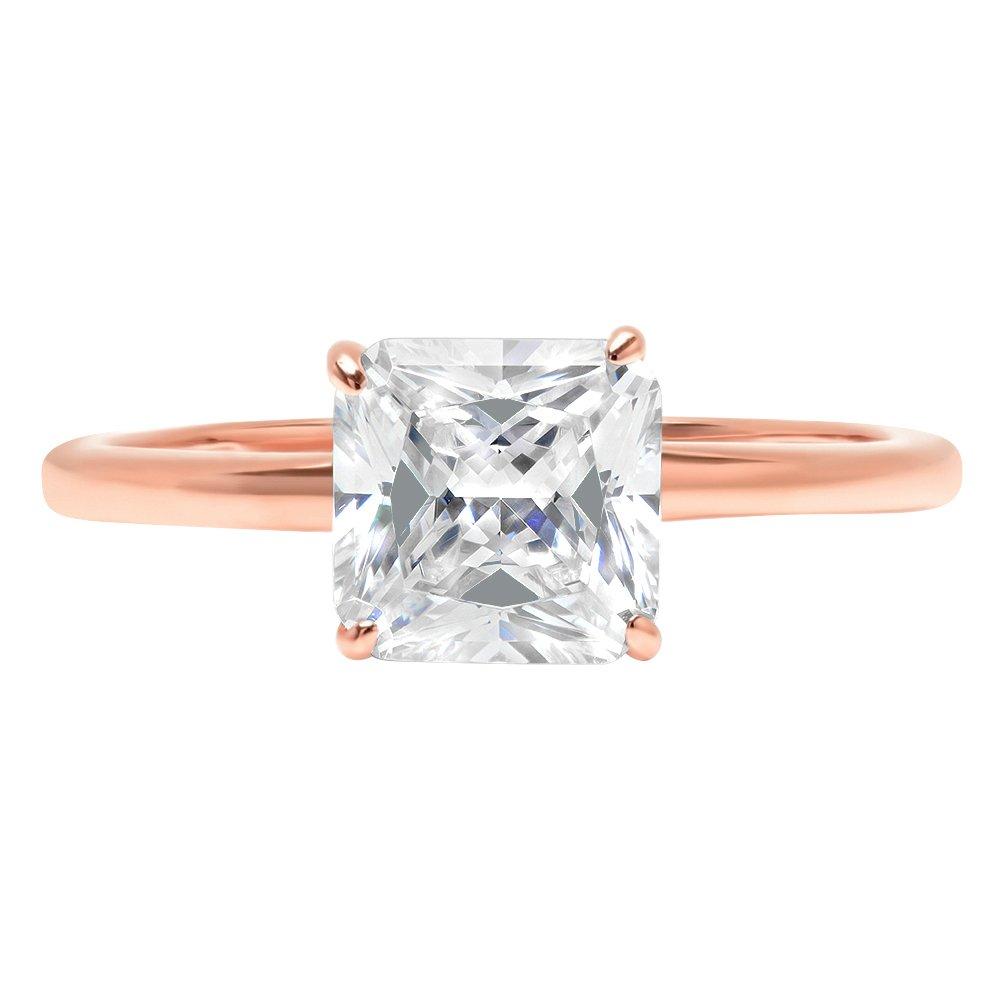 Clara Pucci 1.1ct Asscher Brilliant Cut Simulated Diamond Classic Solitaire Designer Statement Ring Solid 14k Rose Gold for Women, 10.25