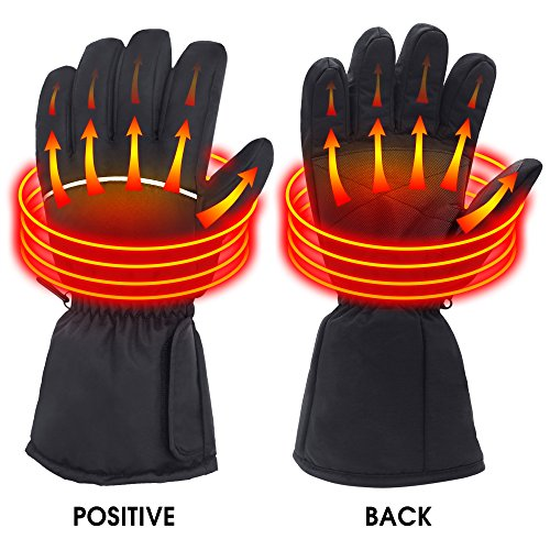 Rabbitroom Battery Powered Heated Gloves for Men and Women, Waterproof Insulated Electric Heating Gloves for Winter Outdoor Camping Hiking Hunting (Large)