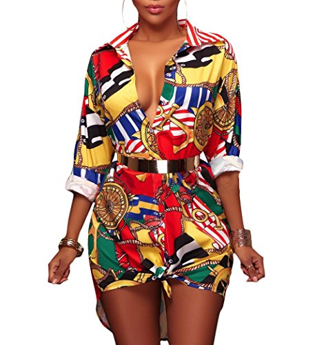 Women's Vintage Stretch Long Sleeve Chain Print Button Down Shirt Dress Dashiki Tunic Top Blouse