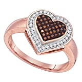 10k Rose Gold Brown Diamond Heart Ring Love Band Chocolate Promise Style Micro Pave Fancy 1/5 ctw Size 8