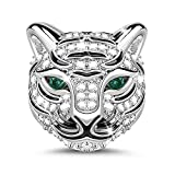 GNOCE 'Strong As A Tiger Royal Tiger Head with Czs 925 Sterling Silver Animal Bead Charm Exquisite Animal Little Tiger Punk Rock Pendant Necklace White Tiger Adorable and The Perfect Addition