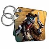 "3dRose Zombie Cowboy In Old Western Clothing Holding A Gun - Key Chains, 2.25"" x 2.25"", Set of 2 (kc_252466_1)"