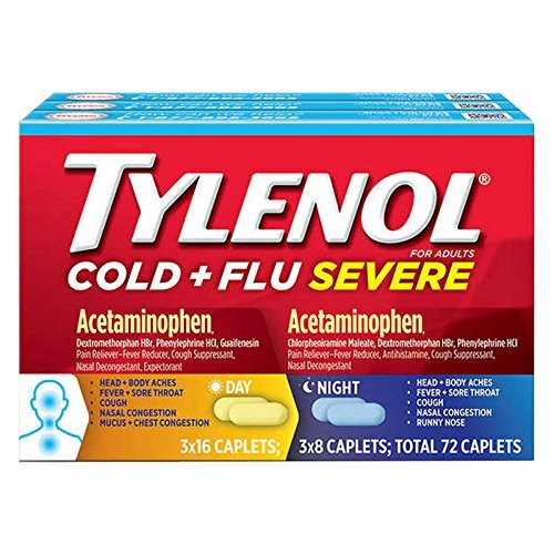 Tylenol Cold + Flu Severe Day & Night Caplets, 72 Caplets by Tylenol