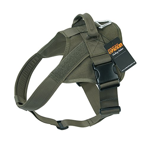 EXCELLENT ELITE SPANKER Tactical Dog Harness Military Patrol K9 Dog Harness Service Dog Vest Nylon Working Dog Vest with Handle(Ranger Green-L)