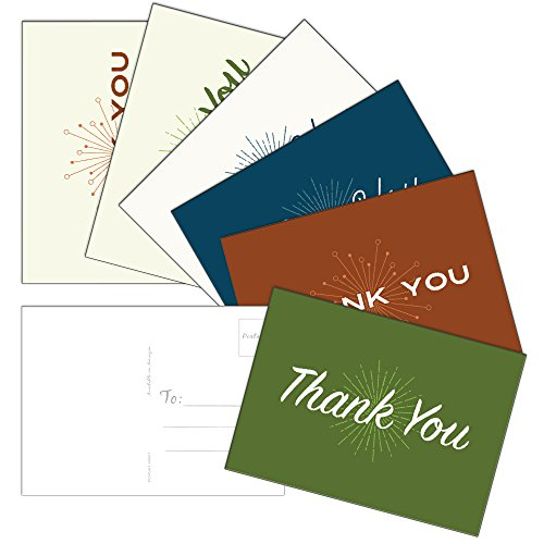 60 Postcards - Retro Thank You - 6 Different Images