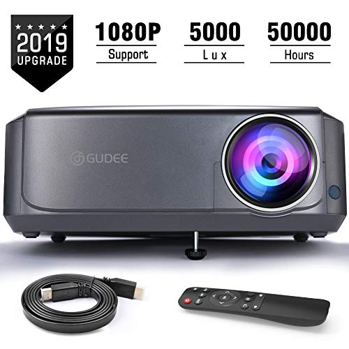 Video Projectors (Upgrade), GuDee Full HD Movie Projector for Home Theater, 5000L Overhead Projector for Business PowerPoint Presentations, Compatible with Laptop, Smartphone, HDMI, USB (Presentation Projector Hd)