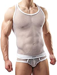 Men's Stretch Mesh Tank Top&Bottom Underwear Set Vest with Underpants