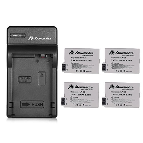 Powerextra 4 pack Replacement Canon LP-E8 Battery Compatible With Canon Rebel T5i T4i T3i T2i DSLR Digital Camera With Charger for Canon LP-E8 Replacement of LC-E8E