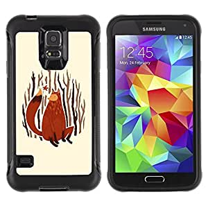LASTONE PHONE CASE / Suave Silicona Caso Carcasa de Caucho Funda para Samsung Galaxy S5 SM-G900 / Fox Art Painting Forest Nature Autumn Leaves
