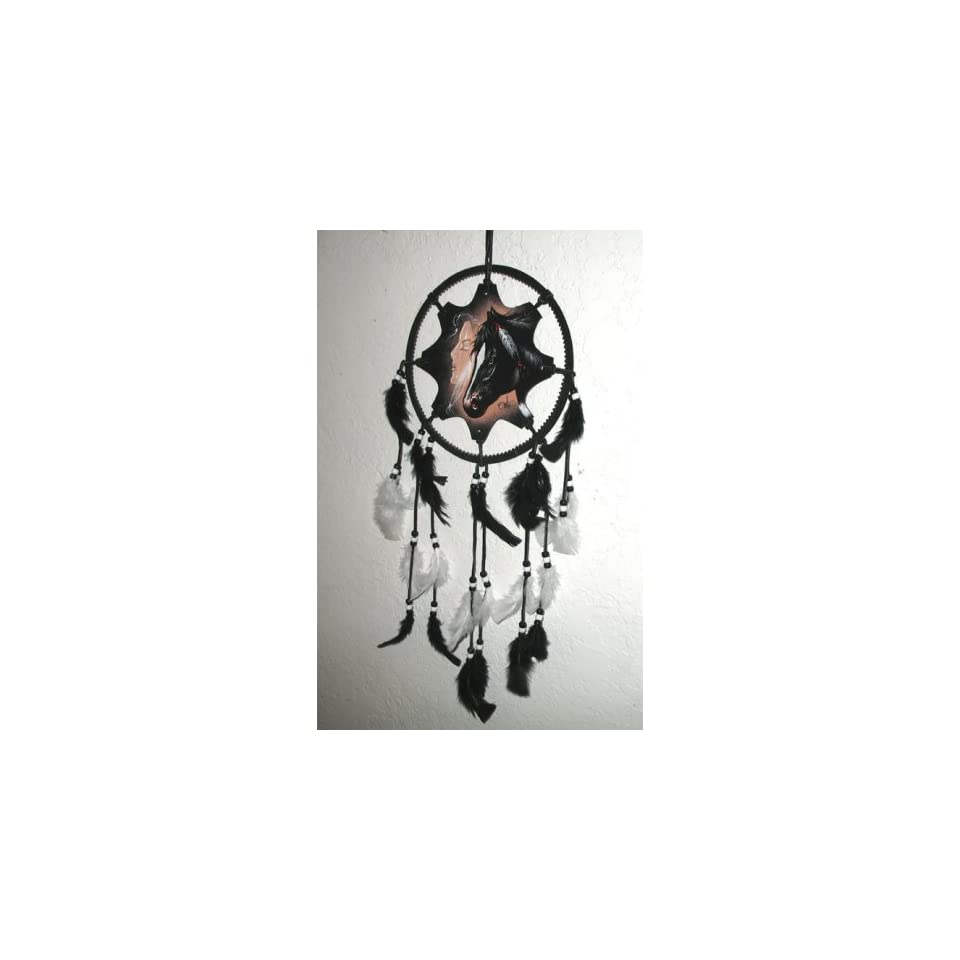 Western Horse and Native American Maiden Origingal Painting Handcrafted Dreamcatcher Mandella 10/25