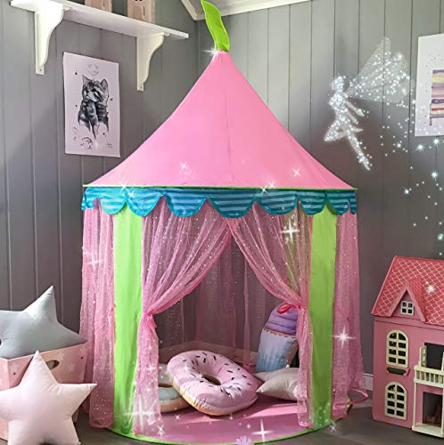"Kids Tent Princess Castle for Girls - Glitter Castle Pop Up Play Tent with Fairy Stick and Tote Bag- Children Playhouse Toy for Indoor and Outdoor Game 41"" X 55""(DxH)"
