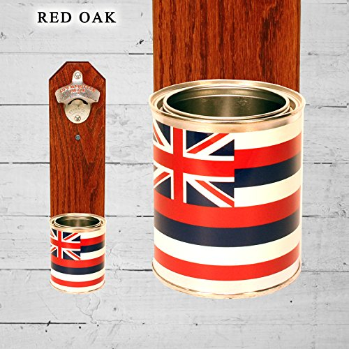 Wall Mounted Bottle Opener with Hawaii State Flag Tin Can Cap ()